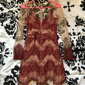 Long Sleeve Sheer Yet Classy Mini Dress